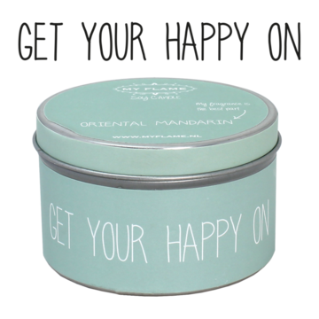 Sojakaars in blik Groen-Get your happy on-Geur Oriental Mandarin